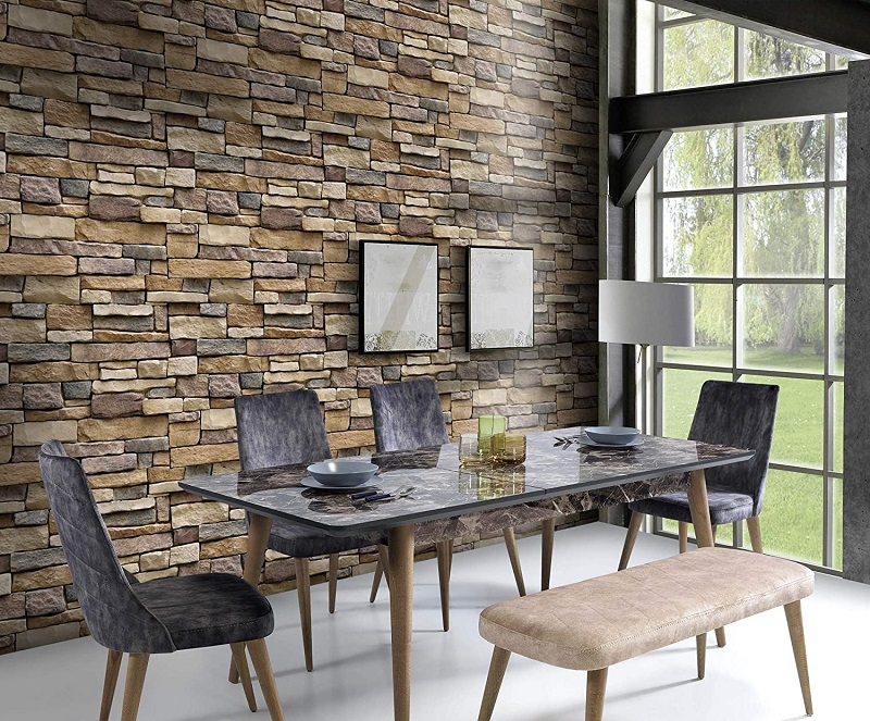 Stone Peel and Stick 3D Wallpaper